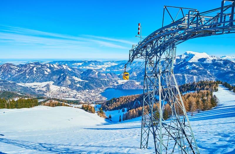 The upper tower of Zwolferhorn air lift, St Gilgen, Salzkammergut, Austria royalty free stock photos