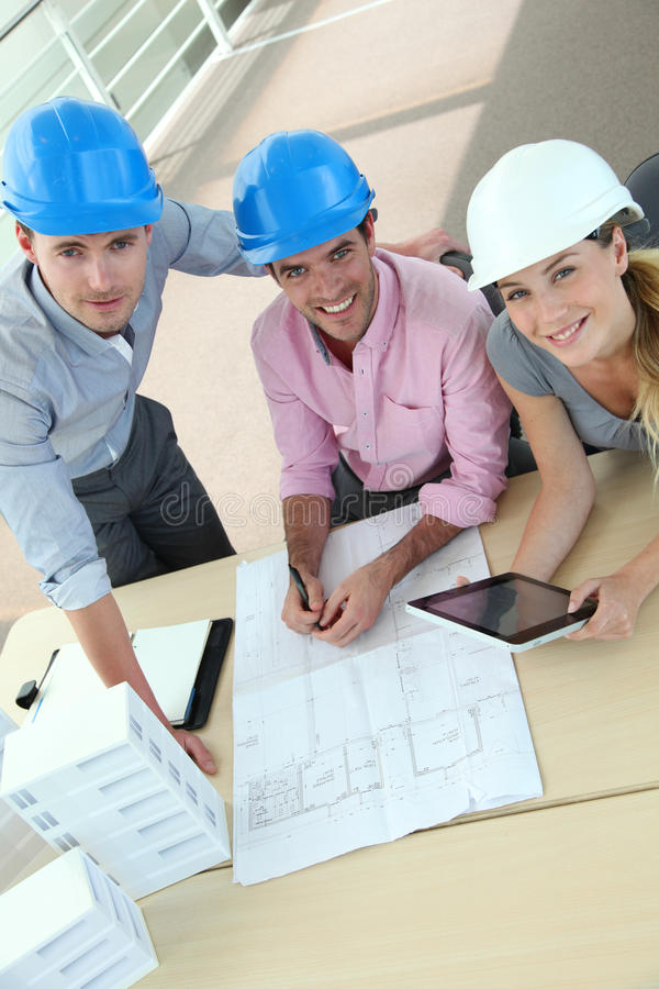 Upper view of business team of architects working royalty free stock photos