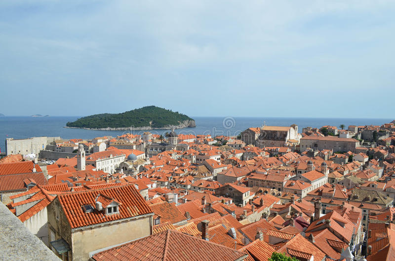 Upper View of Dubrovnik Old Town. Upper View of Dubrovnik ,Croatia Old Town with sea and island royalty free stock images