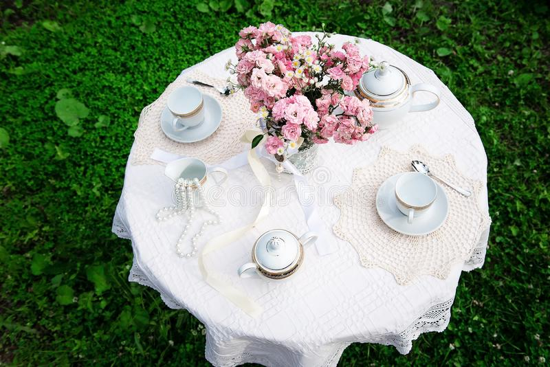 Upper view of the table with pink bouquet royalty free stock photo