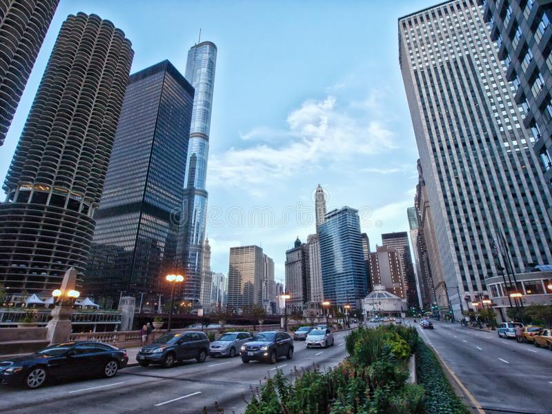 Upper Wacker Drive, Chicago, Illinois stock images
