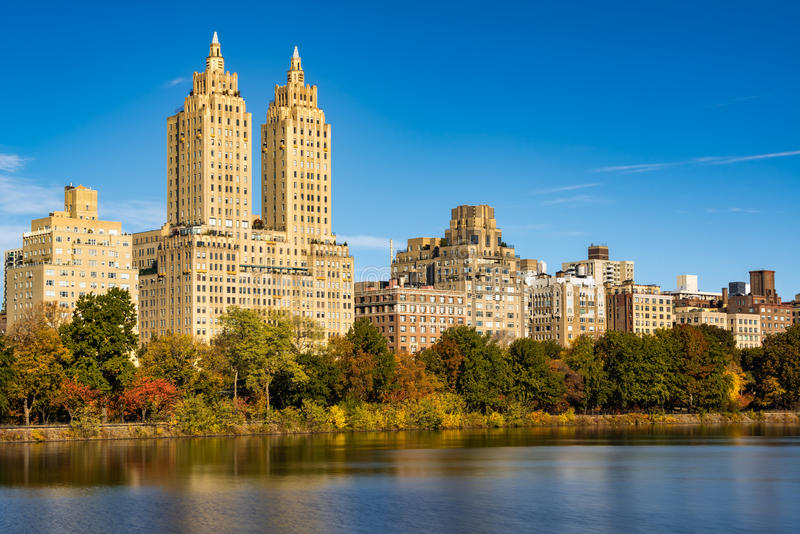 Upper West Side and Central Park in Fall, New York. Upper West Side buildings and Central Park in Fall. Manhattan, New York City stock photo