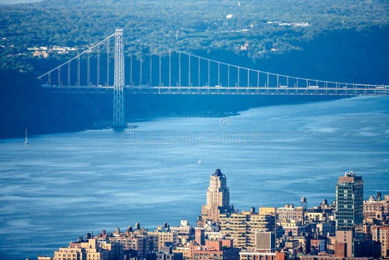 Upper West Side mit George Washington Bridge und Hudson River lizenzfreies stockbild