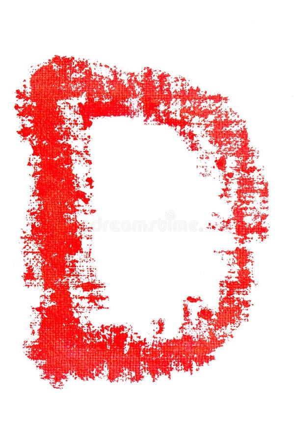Uppercase алфавит губной помады - прописная буква d иллюстрация штока