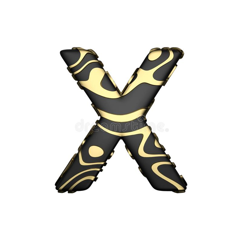 Uppercase письма x алфавита Черный углеродный шрифт с желтыми золотыми пятнами 3d представляют изолировано на белой предпосылке бесплатная иллюстрация