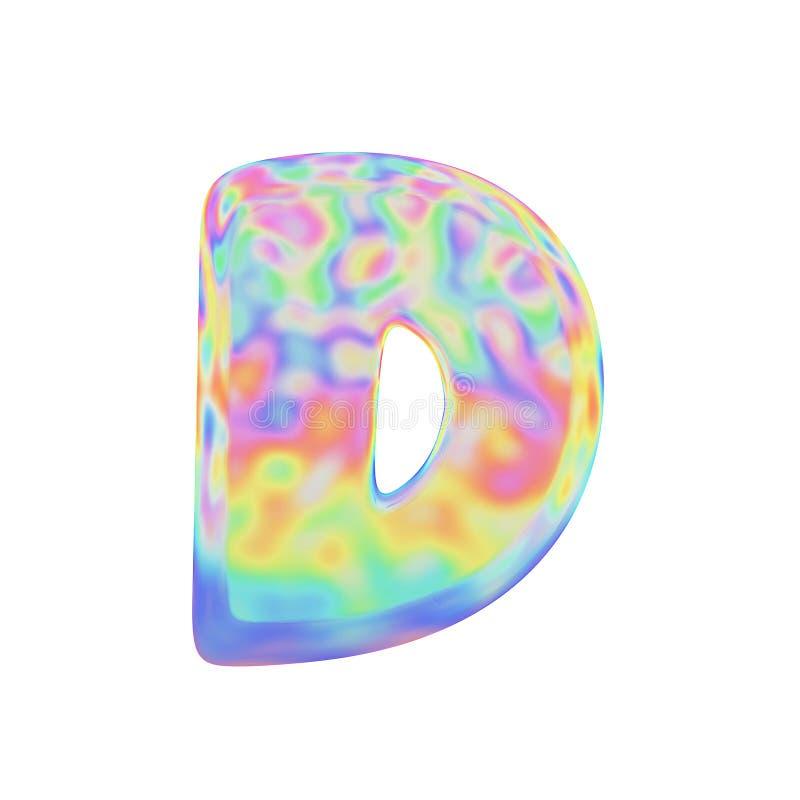 Uppercase письма d алфавита Смешной шрифт сделанный красочного пузыря мыла 3d представляют изолировано на белой предпосылке иллюстрация штока