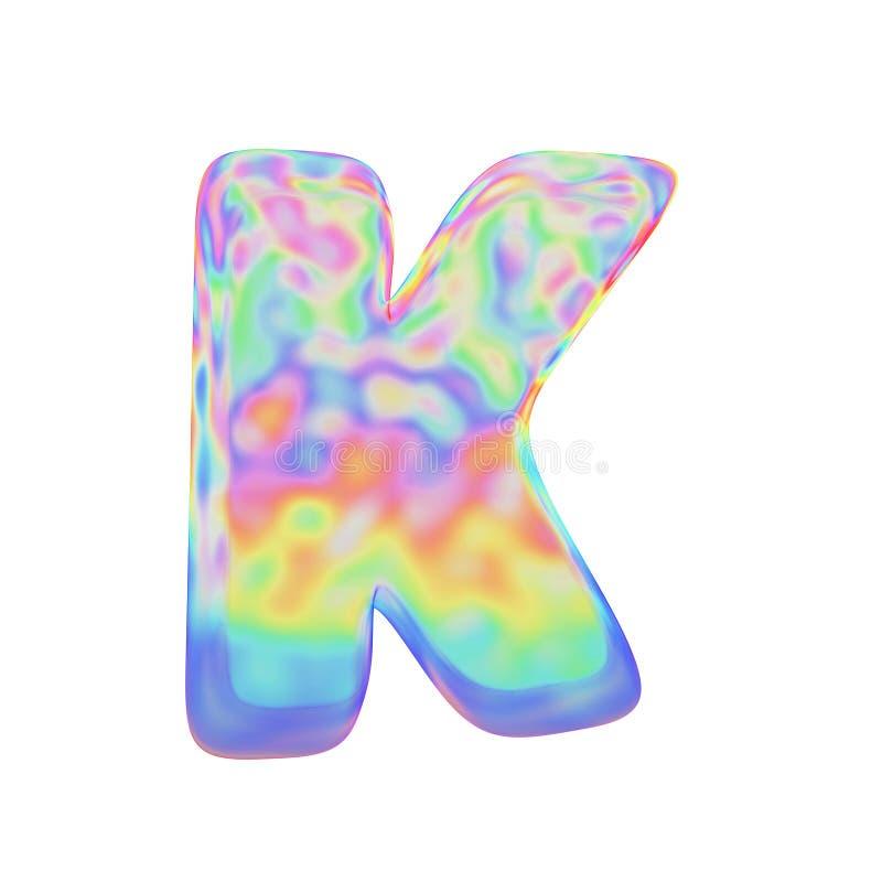 Uppercase письма k алфавита Смешной шрифт сделанный красочного пузыря мыла 3d представляют изолировано на белой предпосылке бесплатная иллюстрация