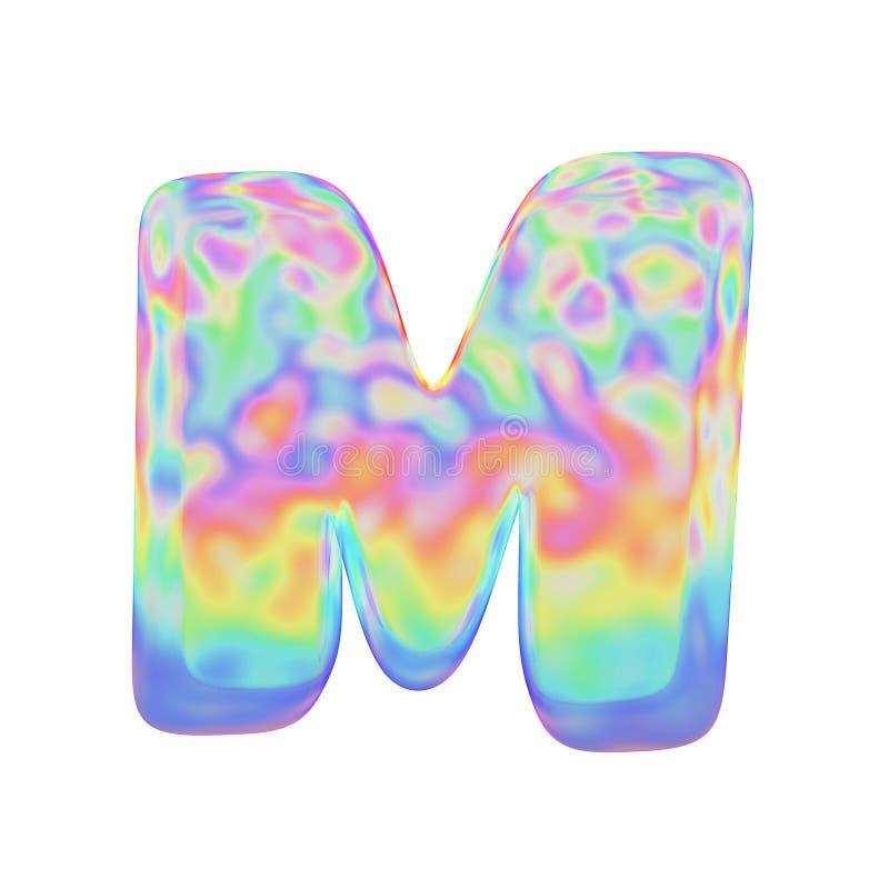 Uppercase письма m алфавита Смешной шрифт сделанный красочного пузыря мыла 3d представляют изолировано на белой предпосылке иллюстрация вектора
