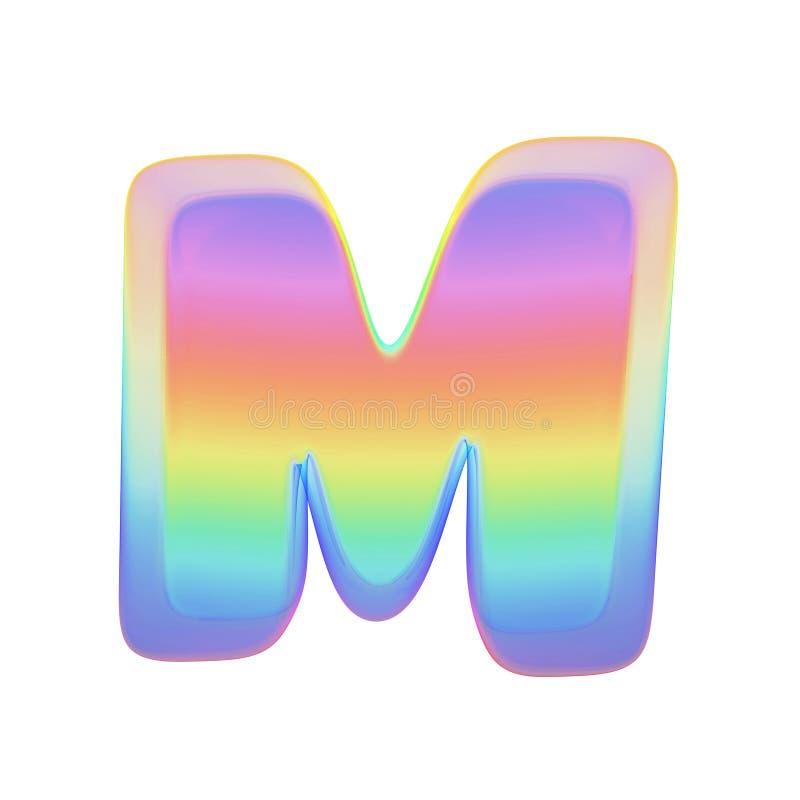 Uppercase письма m алфавита Шрифт радуги сделанный яркого пузыря мыла 3d представляют изолировано на белой предпосылке бесплатная иллюстрация