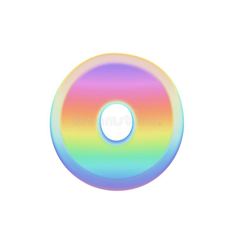 Uppercase письма o алфавита Шрифт радуги сделанный яркого пузыря мыла 3d представляют изолировано на белой предпосылке иллюстрация вектора