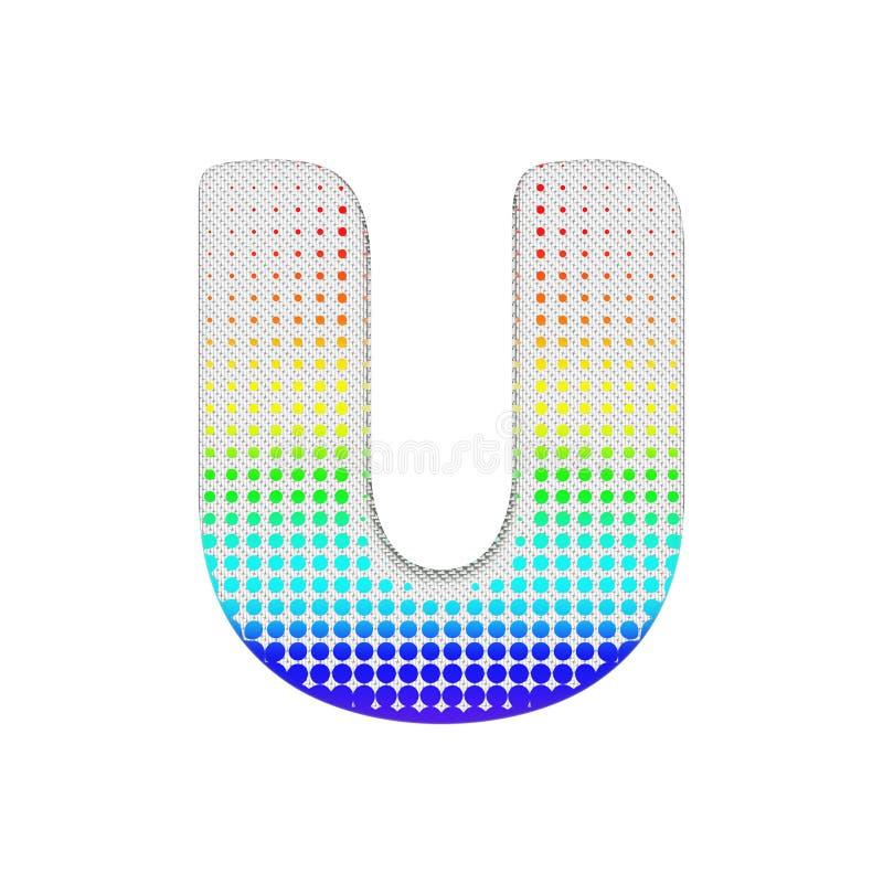 Uppercase письма u алфавита Шрифт полутонового изображения радуги сделанный текстуры хлопка 3d представляют изолировано на белой  иллюстрация штока