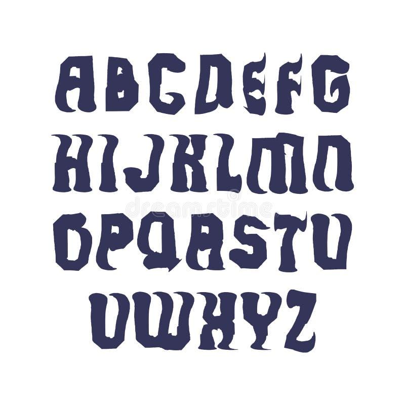 Uppercase calligraphic bokstäver som dras med färgpulver, borstar, vektorn stock illustrationer
