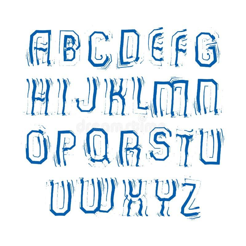 Uppercase calligraphic borstebokstäver, hand-målad ljus vektor stock illustrationer