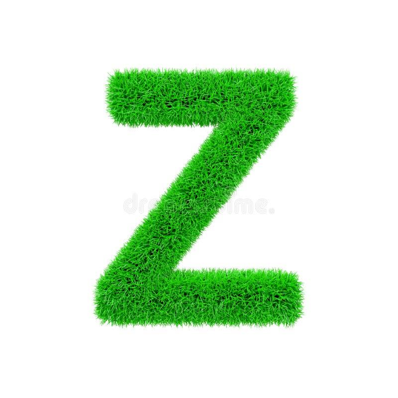 Uppercase da letra Z do alfabeto Fonte gramínea feita da grama verde fresca 3d rendem isolado no fundo branco ilustração do vetor