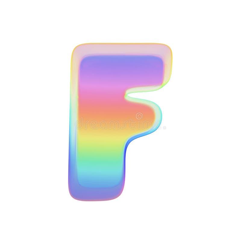 Uppercase f письма алфавита Шрифт радуги сделанный яркого пузыря мыла 3d представляют изолировано на белой предпосылке бесплатная иллюстрация