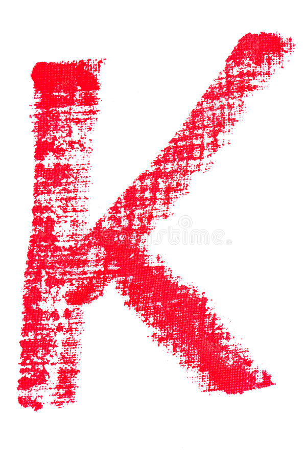 Uppercase läppstiftalfabet - versal K royaltyfri illustrationer