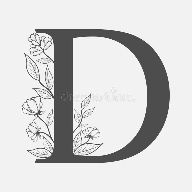 Uppercase Letter D with flowers and branches. Vector flowered monograms or logos. Hand Drawn concept. Botanical design branding. stock illustration