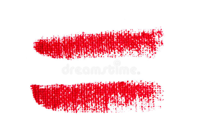 Uppercase lipstick alphabet - capital equal mark. Isolated uppercase equal mark made of red lipstick with fabric texture stock illustration