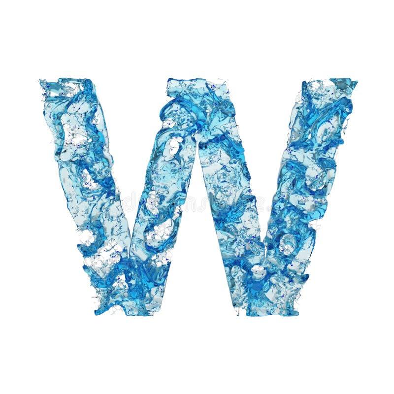 Uppercase w письма алфавита Жидкостный шрифт сделанный из голубой прозрачной воды 3d представляют изолировано на белой предпосылк иллюстрация вектора