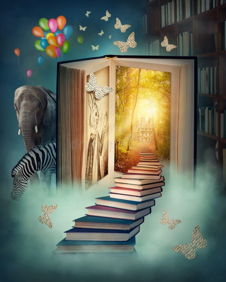 Uppför trappan till det magiska landet stock illustrationer