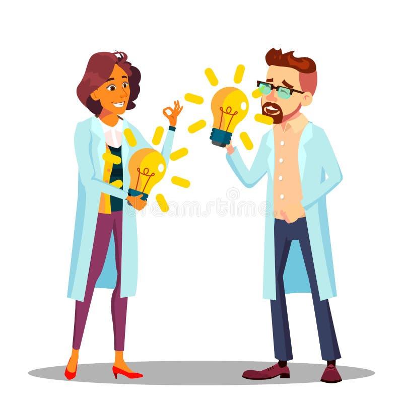 Uppfinnare Man, kvinnavektor ForskareOr Business Person uppfinnare bollar dimensionella tre illustration stock illustrationer