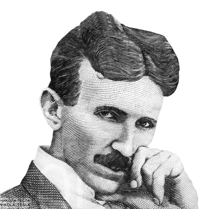 UppfinnareNikola Tesla för värld som berömd stående isoleras på vit bakgrund tonad bild arkivbilder