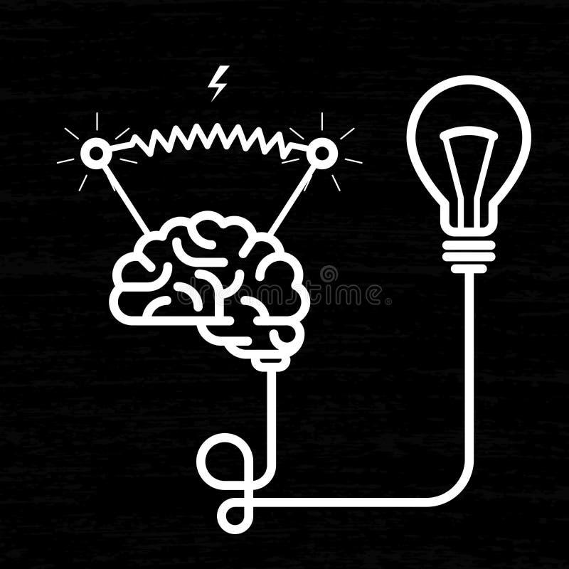 Uppfinning - elektricitet av hjärnan royaltyfri illustrationer