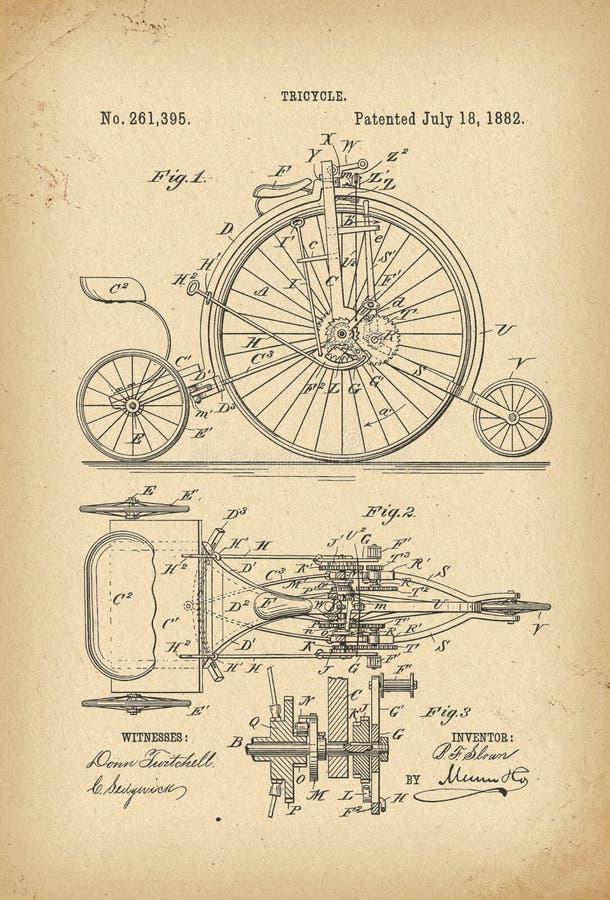 Uppfinning för historia för patenterad trehjulingcykel för Velocipede 1882 arkiv royaltyfri illustrationer