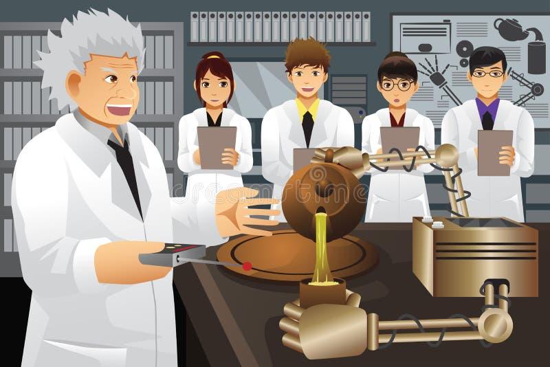 Uppfinning för professor Presenting His Experiment vektor illustrationer