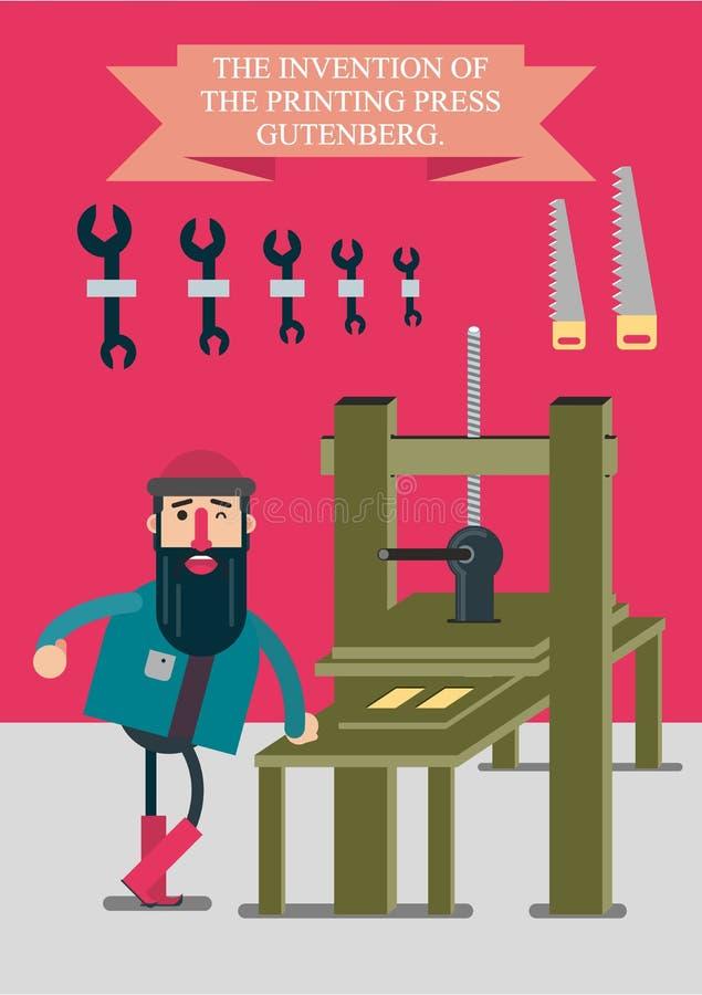 Uppfinningen av tryckpressen av Johann Gutenberg också vektor för coreldrawillustration stock illustrationer