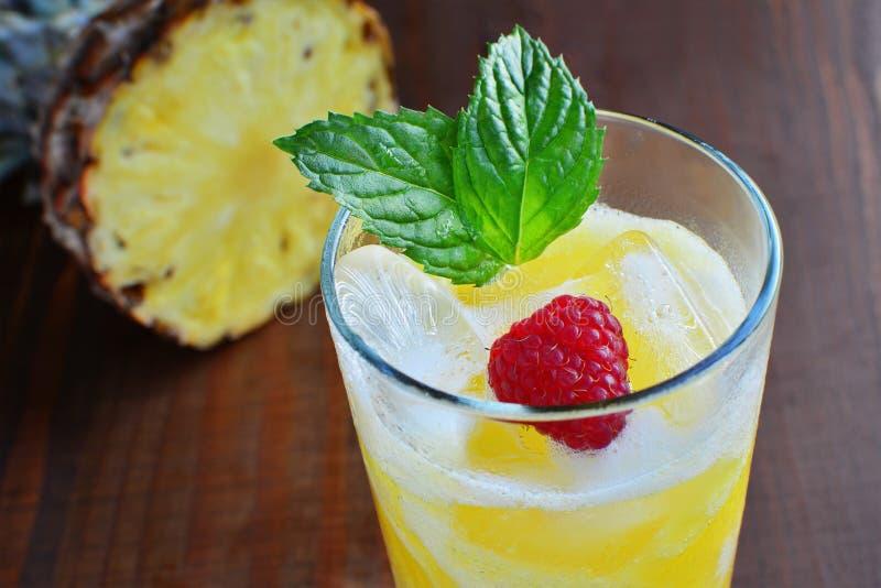 Uppfriskande ananascoctaildrink med is och mintkaramellen arkivbilder