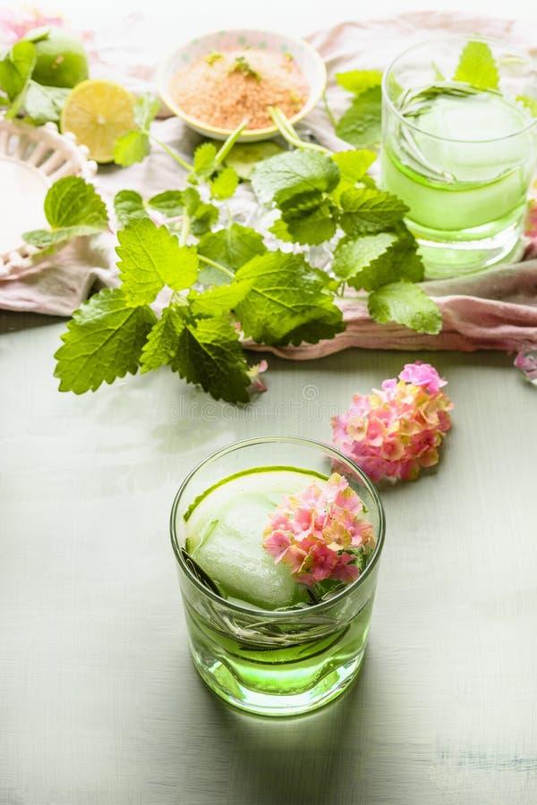Uppfriskande drycker f?r sommar Grön drink i exponeringsglas med den iskuben, gurkan och örter på ljus tabellbakgrund med ingredi royaltyfri foto