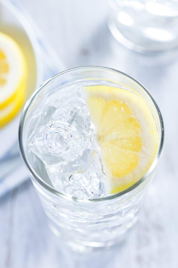 Uppfriskande iskallt vatten med citronen arkivfoto