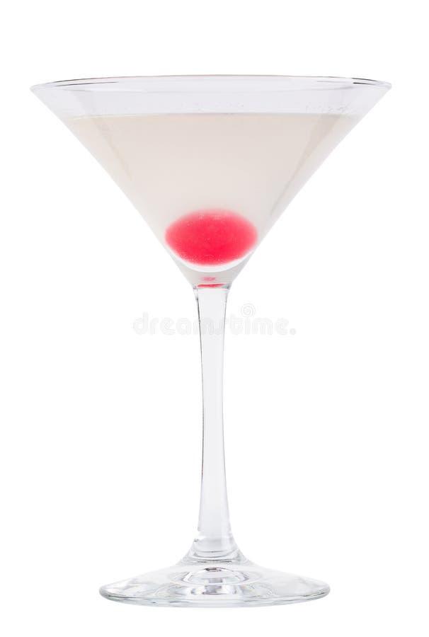 Uppfriskande kall coctail i ett martini exponeringsglas Coctail - molekylär kokkonst royaltyfri bild