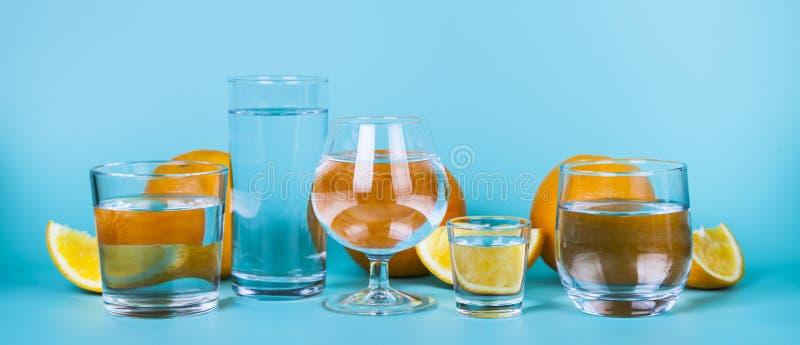 Uppfriskande kallt vatten med apelsiner royaltyfria bilder