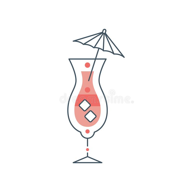 Uppfriskande sommarcoctail med kuber av is och paraplyet stock illustrationer