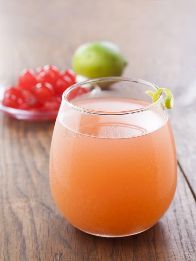 Uppfriskande tropisk coctail med fruktfruktsaft arkivbild