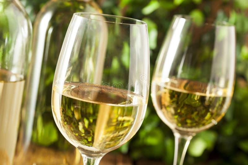 Uppfriskande vitt vin i ett exponeringsglas royaltyfria foton