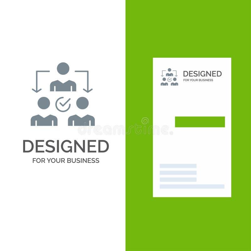 Uppgift, delegat, delegera, fördelning Grey Logo Design och mall för affärskort royaltyfri illustrationer