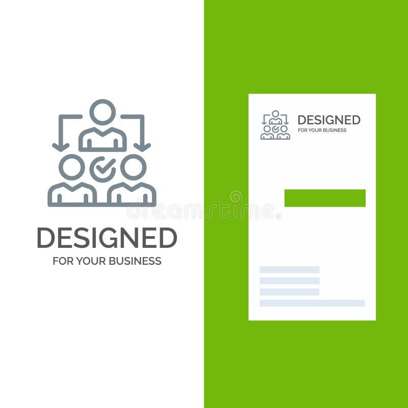 Uppgift, delegat, delegera, fördelning Grey Logo Design och mall för affärskort vektor illustrationer