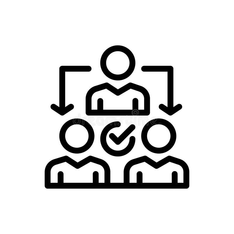 Uppgift, delegat, delegera, fördelningsblått och röd nedladdning och att köpa nu mallen för rengöringsdukmanickkort stock illustrationer