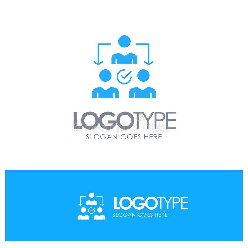 Uppgift delegat som delegerar, blå fast logo för fördelning med stället för tagline royaltyfri illustrationer