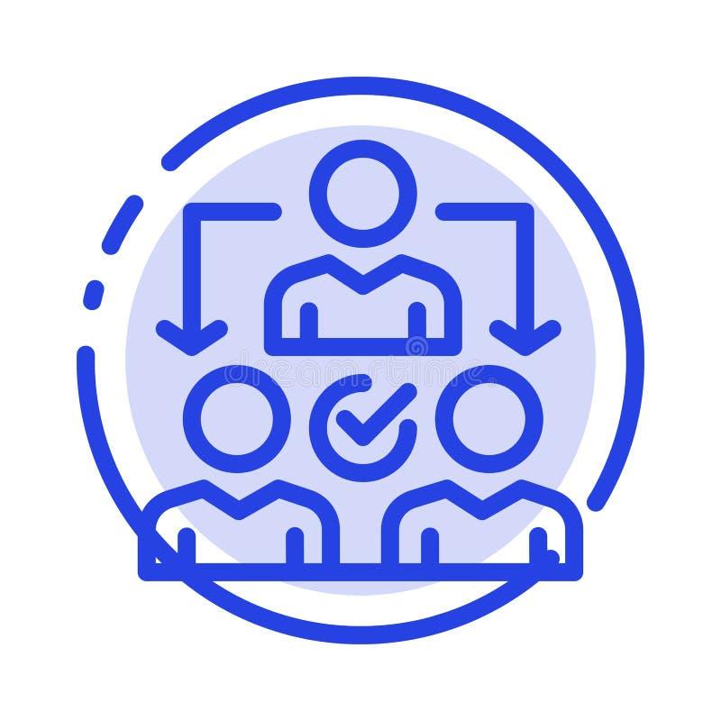 Uppgift delegat som delegerar, blå prickig linje linje symbol för fördelning vektor illustrationer