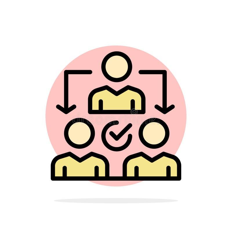 Uppgift delegat som delegerar, för abstrakt symbol för färg cirkelbakgrund för fördelning plan royaltyfri illustrationer