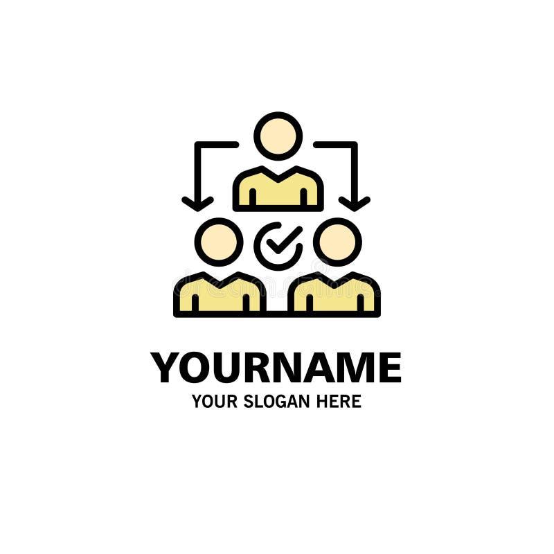 Uppgift delegat som delegerar, fördelningsaffär Logo Template plan f?rg royaltyfri illustrationer
