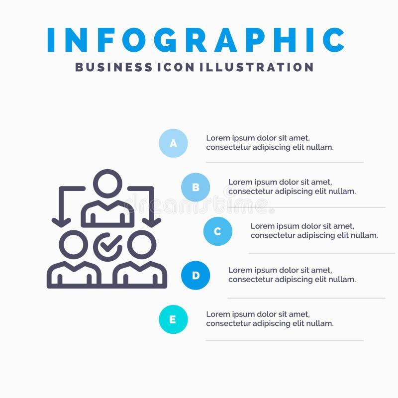 Uppgift delegat som delegerar, fördelningslinje symbol med för presentationsinfographics för 5 moment bakgrund vektor illustrationer