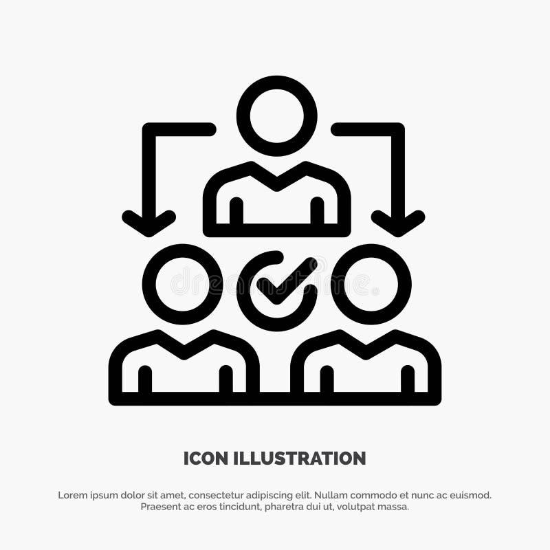 Uppgift delegat som delegerar, fördelningslinje symbolsvektor stock illustrationer