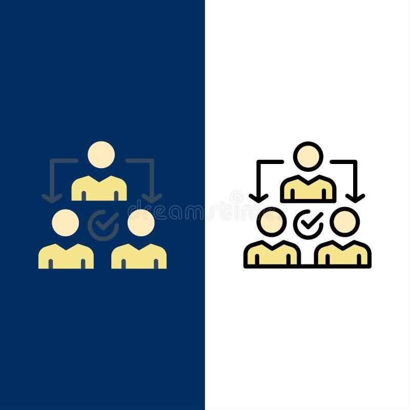 Uppgift delegat som delegerar, fördelningssymboler Lägenheten och linjen fylld symbol ställde in blå bakgrund för vektorn stock illustrationer