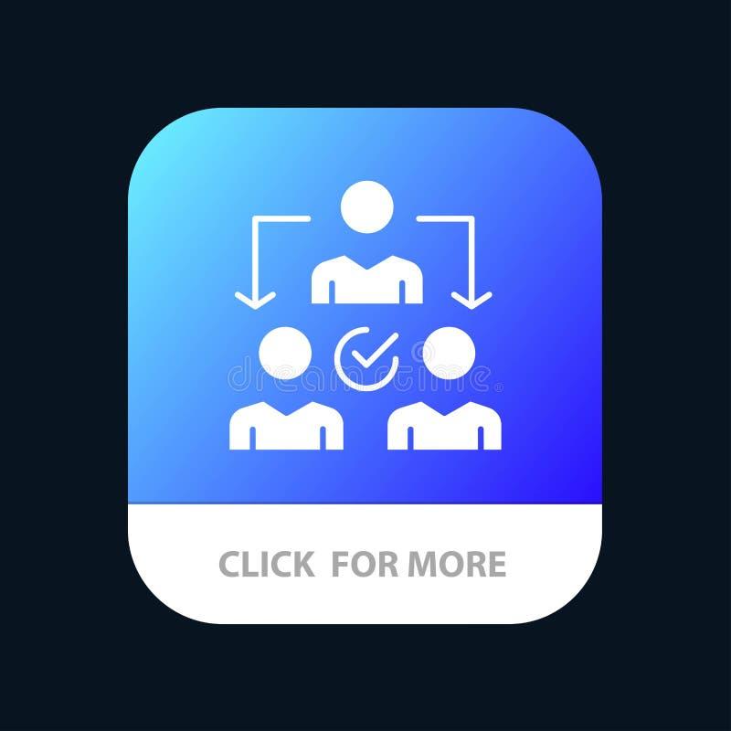 Uppgift delegat som delegerar, mobil Appknapp för fördelning Android och IOS-skåraversion royaltyfri illustrationer