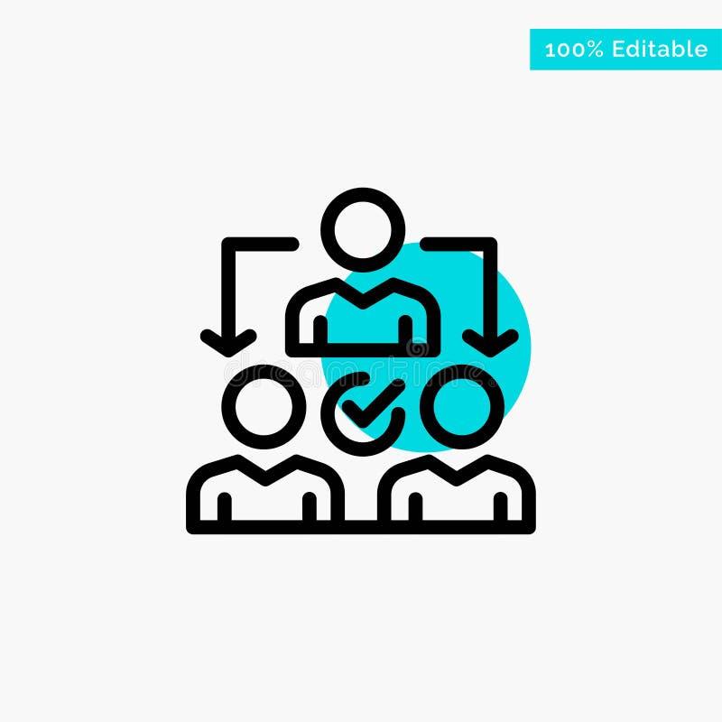 Uppgift delegat som delegerar, symbol för vektor för punkt för cirkel för fördelningsturkosviktig stock illustrationer